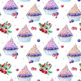 Seamless pattern of a blackberry cupcake and cranberry. Picture of a dessert.Watercolor hand drawn illustration.White background Royalty Free Stock Photography