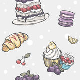 Seamless pattern with blackberry pie, croissants, muffins and fruit Stock Images