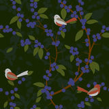 Seamless pattern of Blackthorn berries and birds Stock Photo
