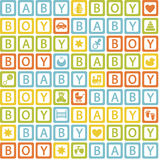 Seamless pattern with  blocks baby boy Royalty Free Stock Photos