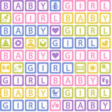 Seamless pattern with  blocks baby girl Royalty Free Stock Images