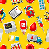 Seamless pattern with blood donation items. Medical and health care sticker objects Stock Photos