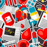 Seamless pattern with blood donation items. Medical and health care sticker objects Stock Image