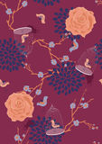 Seamless Pattern with Blooming Branches Stock Photos