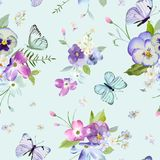 Seamless Pattern with Blooming Flowers and Flying Butterflies in Watercolor Style. Beauty in Nature. Background for Fabric. Textile, Print and Invitation vector illustration