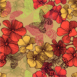 Seamless pattern with blooming geraniums and decor Stock Photo