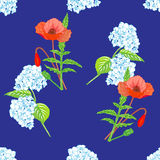 Seamless pattern of blooming hydrangeas and bright red poppies Stock Photo