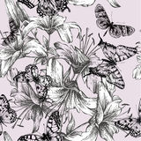 Seamless pattern with blooming lilies and black bu. Tterflies. Vector illustration stock illustration