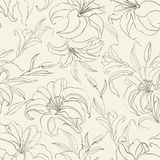 Seamless pattern with blooming lilies. Seamless  pattern with blooming lilies on sepia background. Vector illustration Stock Photos
