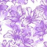 Seamless pattern with blooming lilies. Vector illu Royalty Free Stock Photo