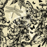 Seamless pattern with blooming phlox, butterflies. And dragonflies. Vector illustration royalty free illustration