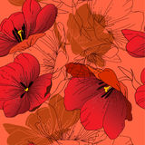 Seamless pattern with blooming red tulips Royalty Free Stock Photography