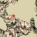 Seamless pattern with blooming roses, butterflies  Royalty Free Stock Photos