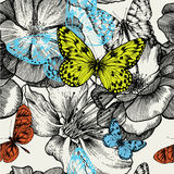 Seamless pattern with blooming roses and flying bu stock illustration