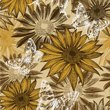 Seamless pattern with blooming sunflowers and flyi Royalty Free Stock Images