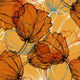 Seamless pattern with blooming tulips Stock Photo