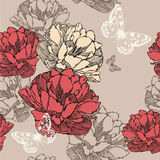 Seamless pattern with blooming tulips and flying b Stock Photos