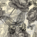 Seamless pattern with blooming wild roses. And decorative butterflies, hand-drawing. Vector illustration Stock Photo