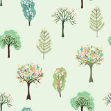 Seamless pattern with blossom trees for spring Stock Photography