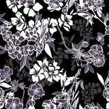 Seamless pattern with blossoming cherry or sakura Royalty Free Stock Image