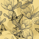 Seamless pattern with blossoming magnolias and but Royalty Free Stock Images
