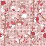 Seamless Pattern With Blossoming Pink Flowers. Stock Photos
