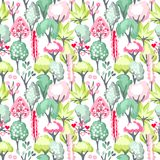 Seamless pattern with blossoming trees Royalty Free Stock Photos