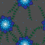 Seamless pattern with blue abstract flower on the grey backgroun. D. Can be used for printing on fabric, for wrapping paper and for the background of the site Royalty Free Stock Image