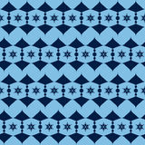 Seamless pattern from the blue alternating abstract figures. Stock Photos