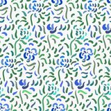 Abstract anemone pattern. Seamless pattern of blue anemone flowers in post-impressionism style vector illustration