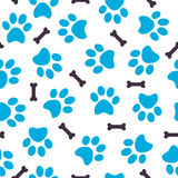 Seamless pattern of blue animal paws with bones Stock Image