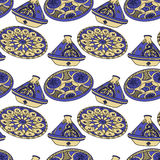 Seamless pattern of blue arabic crockery. Royalty Free Stock Photo