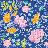 Seamless pattern, blue background, bright, contour, pink flowers, orange leaves. Stock Image