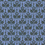 Seamless pattern on blue background depicting stylized flowers and leaves. Stock Photography