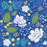 Seamless pattern, blue background, pink flowers, green leaves, blue contour. Royalty Free Stock Images