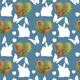 Seamless pattern on blue background. Silhouettes of rabbits and green plant hearts. Love stock illustration