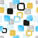 Seamless pattern with blue, black and golden squares. Royalty Free Stock Images