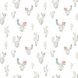 Seamless pattern. Blue blooming watercolor cactus with black outline on white background stock illustration