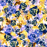 Seamless pattern of blue watercolor roses and leaves. Seamless pattern of blue bright watercolor hand drawn roses and leaves Royalty Free Stock Photo
