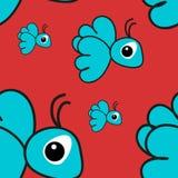 Seamless pattern with blue cartoon bird Stock Images