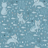 Seamless Pattern Blue Cats Wallpaper Background. Hand drawn illustration vector seamless pattern of cute cats in blue tone for wallpaper or background Royalty Free Stock Photography