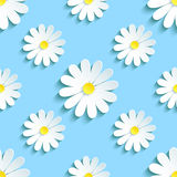 Seamless pattern blue with chamomile Royalty Free Stock Photos