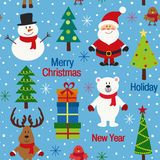 Seamless pattern blue with christmas trees and characters Royalty Free Stock Images