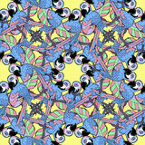 Seamless pattern with blue circles dancing fun Caribbean parrot. Stock Image