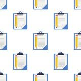 Clipboard and Pencil Icon Seamless Pattern Royalty Free Stock Image