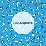 Seamless pattern blue color with tools for repair. Vector illustration. Roller, brush, paint, pencil, tool, hammer, tape measure,. Background for web or print Stock Images