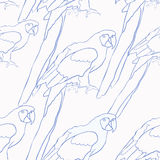 Seamless pattern blue coloring of the Caribbean parrot sitting. Seamless pattern blue coloring of the Caribbean parrot sitting vector illustration Royalty Free Stock Images