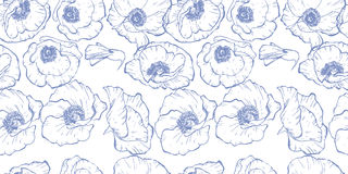 Seamless pattern with blue contoured poppy flowers isolated on white background. Vector illustration. Seamless pattern with blue contoured poppy flowers Royalty Free Stock Photo