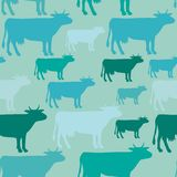 Seamless  pattern of blue cow. Silhouettes cows Stock Photo