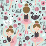 Seamless pattern blue with cute ballerina girl. Vector illustration, eps vector illustration